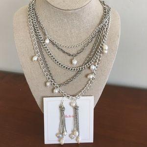 Stella & Dot Avery Pearl Necklace & Earring Lot